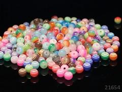 Pestrobarevné korálky PROUŽKY kuličky  6mm, MEGA bal. 30ks