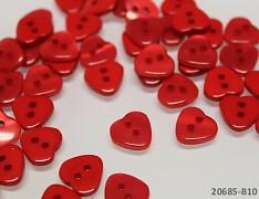 ČERVENÉ knoflíky srdce 11mm perleťové, bal. 10ks