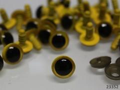 žluté bezpečnostní oči 12mm žluté oči na výrobu hraček panenek, bal. 10ks