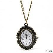 Vintage hodinky, ovál pro kabošon, s řetízkem 82cm