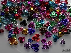 Pestrobarevný MIX korálky kovové kytičky barev a velikostí, bal. 1.5g ± 25ks