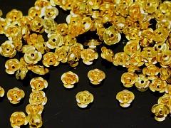 Zlaté korálky kovové kytičky 7mm bal. 20ks
