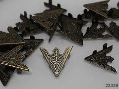 Špičaté kovové rohy 35mm bronz, bal. 2ks