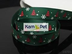 Vánoční stuha zelená/ stromečky 16mm, bal. 2m