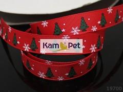 Vánoční stuha červená/ stromečky 16mm, bal. 2m