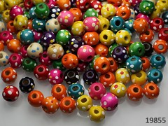 Pestrobarevný MIX korálky dřevěné kytičkou 10mm  bal. 6g ± 20ks