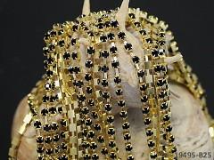 Zlatá borta štrasová ČERNÉ kamínky 3mm