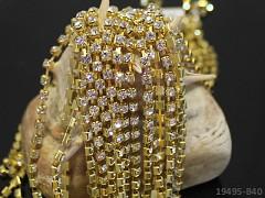 Zlatá borta štrasová ČIRÉ kamínky 3mm