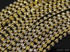 Zlatá borta štrasová ČIRÉ kamínky 2,5mm