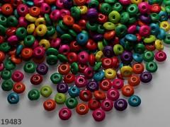 Pestrobarevný MIX korálky dřevěné 6/3 bal. 10g ± 220ks