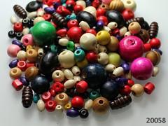 Pestrobarevný MIX korálky dřevěné kreativní bal. 30g