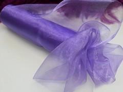 Fialová střední stuha dekorační organzová šerpa 16cm organza středně fialová, á 1m