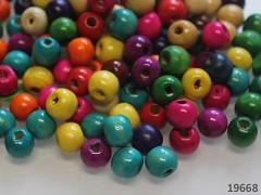 Pestrobarevný MIX korálky dřevěné 10/9mm bal. 10g