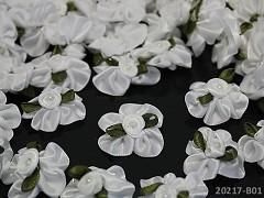 Aplikace saténová květina s listem BÍLÁ, bal. 5ks