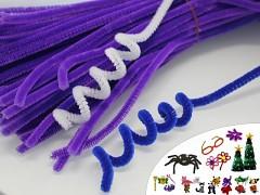 TMAVĚ FIALOVÉ chlupaté drátky žinylky tvarovací drát á 1ks