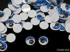 MODRÉ oči 10mm pohyblivé s řasama oči na výrobu hraček panenek, bal. 10ks