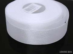 Bílá stuha atlasová PERLEŤOVÁ luxusní stuha 25mm stužka bílá