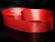 Červená stuha atlasová PERLEŤOVÁ luxusní stuha 25mm stužka červená