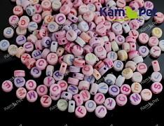 Pestrobarevné korálky  kuličky 6mm písmena 7/3.5, bal. 5g ± 30-35ks