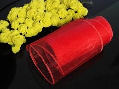 Červená stuha dekorační organzová 12cm obšitá organza červená, role