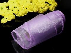Fialová světlá stuha dekorační organzová 12cm obšitá organza fialková, role
