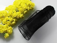 Černá stuha dekorační organzová 12cm obšitá organza čermí, role