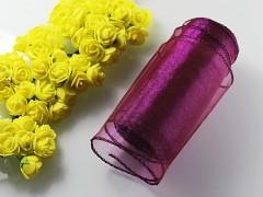 Fialová borůvková stuha dekorační organzová 12cm obšitá organza fialová borůvková, role