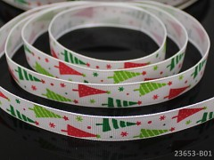 Vánoční stuha BÍLÁ / stromečky 16mm, bal. 2m