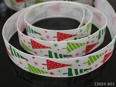 Vánoční stuha BÍLÁ / stromečky 25mm, bal. 2m