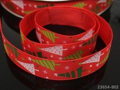 Vánoční stuha ČERVENÁ / stromečky 25mm, bal. 2m