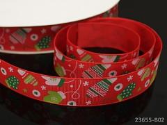 Vánoční stuha ČERVENÁ / rukavičky 25mm, bal. 2m