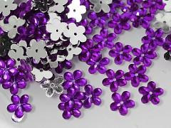 Fialové korálky našívací květinky 12mm, bal. 15ks