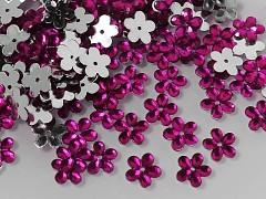 RŮŽOVÉ CYKLÁMOVÉ  korálky našívací kabošony květinky 12mm, bal. 15ks