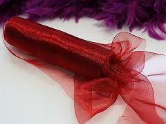Červená stuha dekorační organzová šerpa 36cm organza červená, á 1m