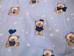 Látka fleece SVĚTLE MODRÝ / medvídci, á 1m