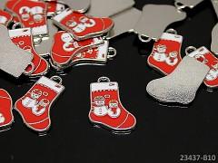 ČERVENÁ vánoční bota kovový přívěšek, á 1ks