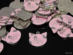 Kovový přívěšek růžová kočka,  á 1ks