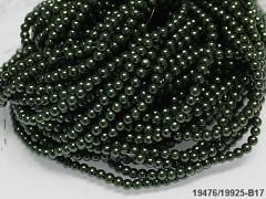 Korálky voskované perly 4mm TMAVĚ ZELENÉ