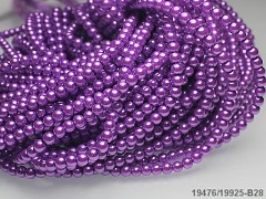 Voskované perly 6mm STŘEDNĚ FIALOVÉ