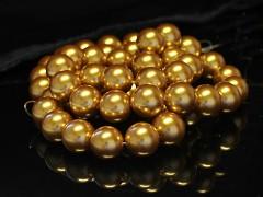 Voskované perly  14mm ZLATÉ, bal. 5ks