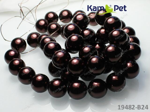 Voskované perly 14mm HNĚDÉ, bal. 5ks