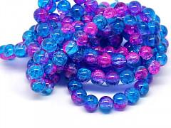 Modré / růžové korálky práskané  6mm, bal. 28ks