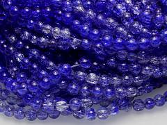 Modré nivea / čiré korálky práskané práskané 6mm, bal. 30ks