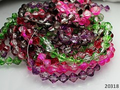 Pestrobarevný MIX korálky práskané lucerny 8mm, bal. 100ks