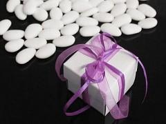 Italské svatební mandle v krabičce SVĚTLE FIALOVÁ mašle