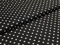 Černá látka s puntíky 06 puntíkované plátno ATEST DĚTI,  á 1m