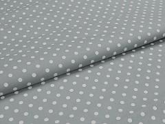 Šedá látka s puntíky 06 puntíkované plátno ATEST DĚTI,  á 1m
