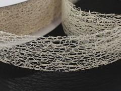 SMETANOVÁ stuha dekorační pavučina 38mm smetanová ivory, á 1m