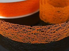 Oranžová stuha dekorační pavučina 38mm Oranžová, á 1m