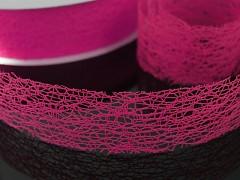 Růžová cyklámová stuha dekorační pavučina 38mm magenta, á 1m